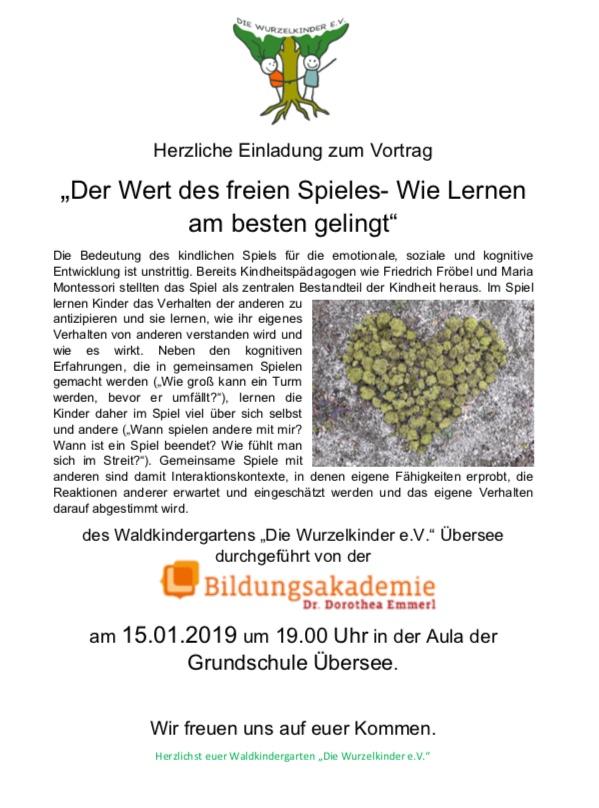"""Einladung zum Vortrag """"Freies Spiel"""" am 15.1.19"""